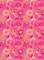 Упаковочная бумага  для подарков с фольгой Цветы на розовом фоне 707х1000 мм