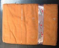 Бамбуковая махровая простынь 160x220 персиковый