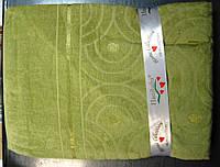Бамбуковая махровая простынь 160x220 салатовый