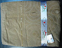 Бамбуковая махровая простынь 160x220 бежевый
