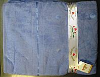 Бамбуковая махровая простынь 160x220 голубой