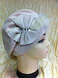 Бежевая шапка - берет с норкой  , фото 2