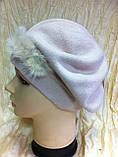 Бежевая шапка - берет с норкой  , фото 3