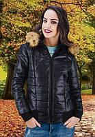 Черная короткая куртка с капюшоном