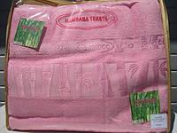 Бамбуковая махровая простынь 160x220 Exclusive bamboo розовый