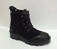 Ботинки женские осенние кожа/замша черные AL0036