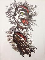 Флеш тату. Временная татуировка. Волк снежный 21*15 см