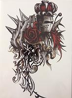 Флеш тату. Временная татуировка. Рыцарь и Красная Роза 21*15 см