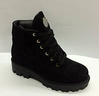 Ботинки женские демисезонные замшевые черные на шнурке/замочке AL0039