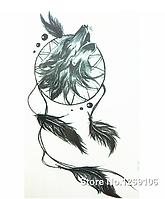 Флеш тату. Временная татуировка. Волк ловец снов 19x12 см