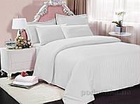 Постельное белье страйп-сатин Махрофф полоска белое Двуспальный евро комплект