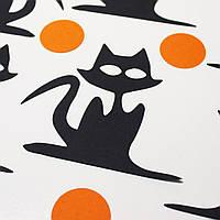 Бумажная наклейка Кот, черная Хеллоуин