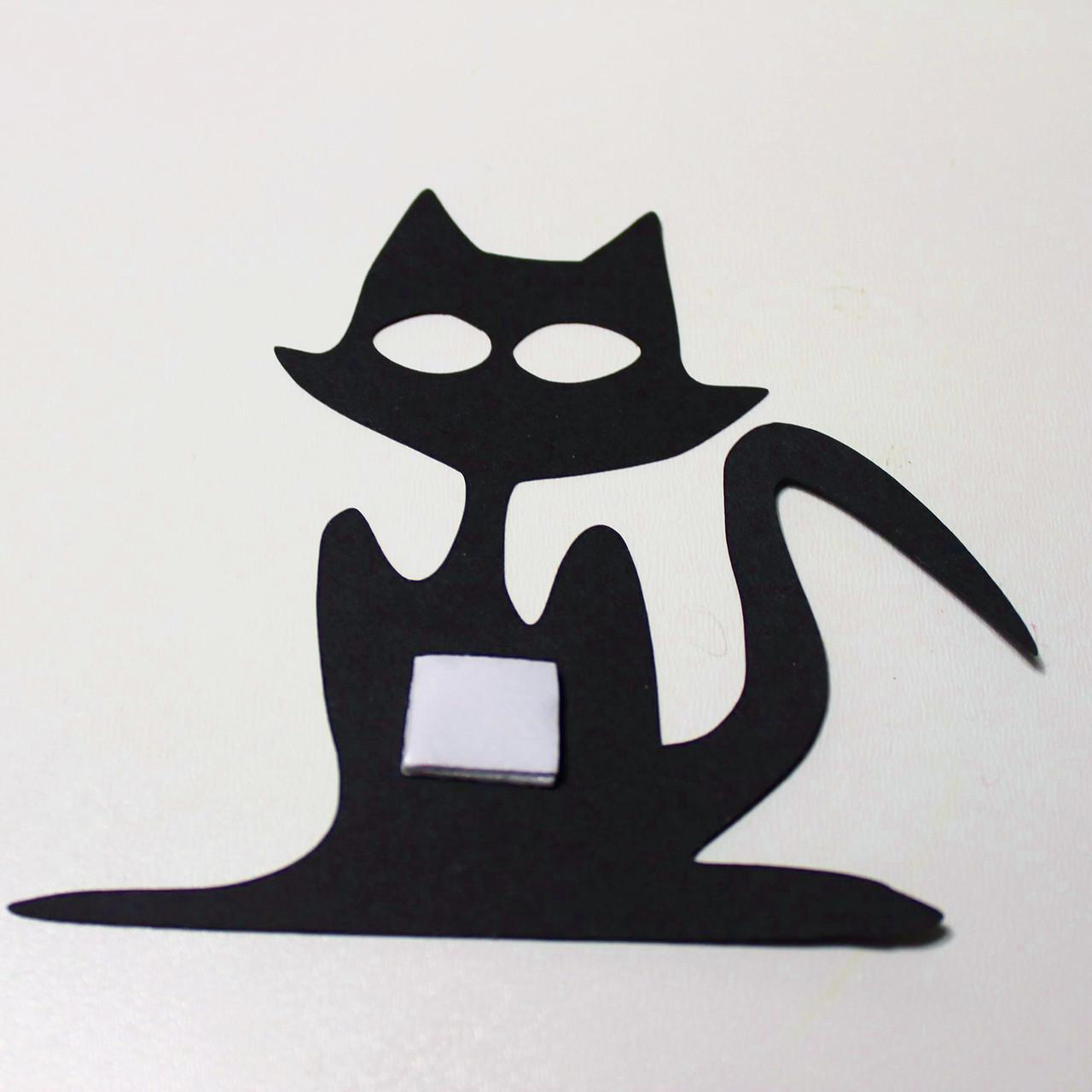 Бумажный Кот на двухстороннем скотче 15 см