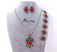 Ожерелье, серьги, браслет,  Бирюза красная, старина F2157