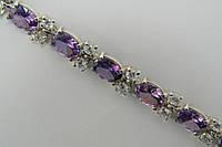 Женский серебряный браслет с сиреневыми цирконами (аметист)