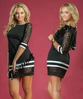 Платье мини с гипюровыми рукавами