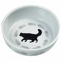 Керамическая миска с рисунком кота cats single Karlie-Flamingo для котов , 12*3,5 см