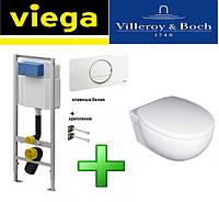 Инсталляция Viega WC 3-в-1 606688 с белой клавишей 654498 + Унитаз подвесной Villeroy & Boch TUBE 56351001 с крышкой soft close