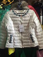 Демисезонная куртка со стразами 2 цвета