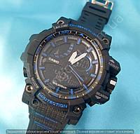 Часы Casio G-Shock Avio 114423 мужские черные с синим водонепроницаемые противоударные с подсветкой