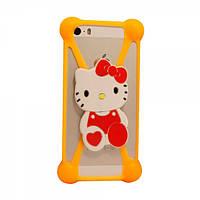 Универсальный 3D чехол-бампер Hello kitty оранжевый, фото 1