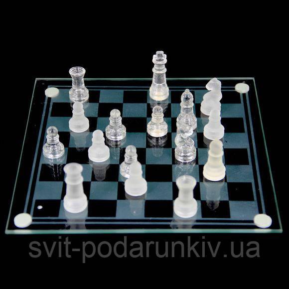 Шахматы из стекла GJS01M на плоской доске матовые и прозрачные