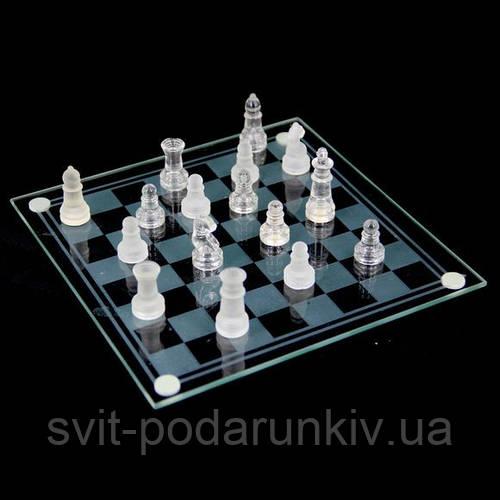 Шахматы стекло GJS02 с матовыми и прозрачными фигурками