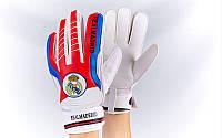 Перчатки вратарские FB-3762-04 REAL MADRID (PVC, р-р 8-10, синий-красный)