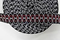 Т/О ромбик 20мм (50м) черный+белый+красный , фото 1