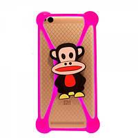 Универсальный 3D чехол-бампер обезьянка розовый