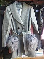 Демисезонное пальто с натуральным мехом ламы 4 цвета