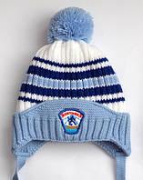 Зимняя шапка Хоккей 45-48 см голубой
