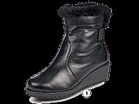Полусапожки  женские МИДА 24563 черные,кожаные на тонкетке.