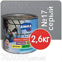 Смайл Экспресс 3в1 Гладкая-Серый П/МАТ № 17 Грунт эмаль по ржавчине 2,6кг