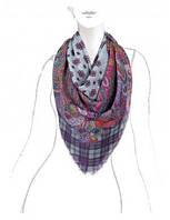 Красивый платок женский 140 на 140 см с узорами VR43-8026 Eleganzza