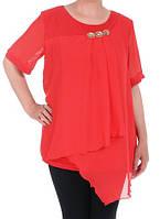Блуза шифоновая красная 60 размера