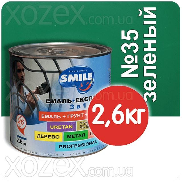 Смайл Експрес 3в1 Гладка-Зелений П/МАТ № 35 Грунт емаль по іржі 2,6 кг