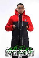 Мужская зимняя парка | куртка Ястреб красно-чёрная (есть опт)