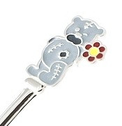 Детская серебряная ложка Мишка с цветочком
