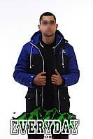 Мужская зимняя парка | куртка Ястреб сине-чёрная (есть опт)