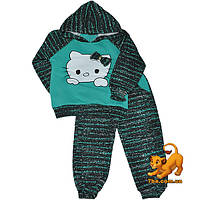 """Стильный детский костюм """"Hello Kitty"""" , из трикотажа на флисе для девочки от 1-4 лет"""
