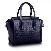 Женская качественная кожаная сумка в форме трапеции, фото 1