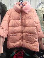 Красивая куртка со стразами и мехом 2 цвета