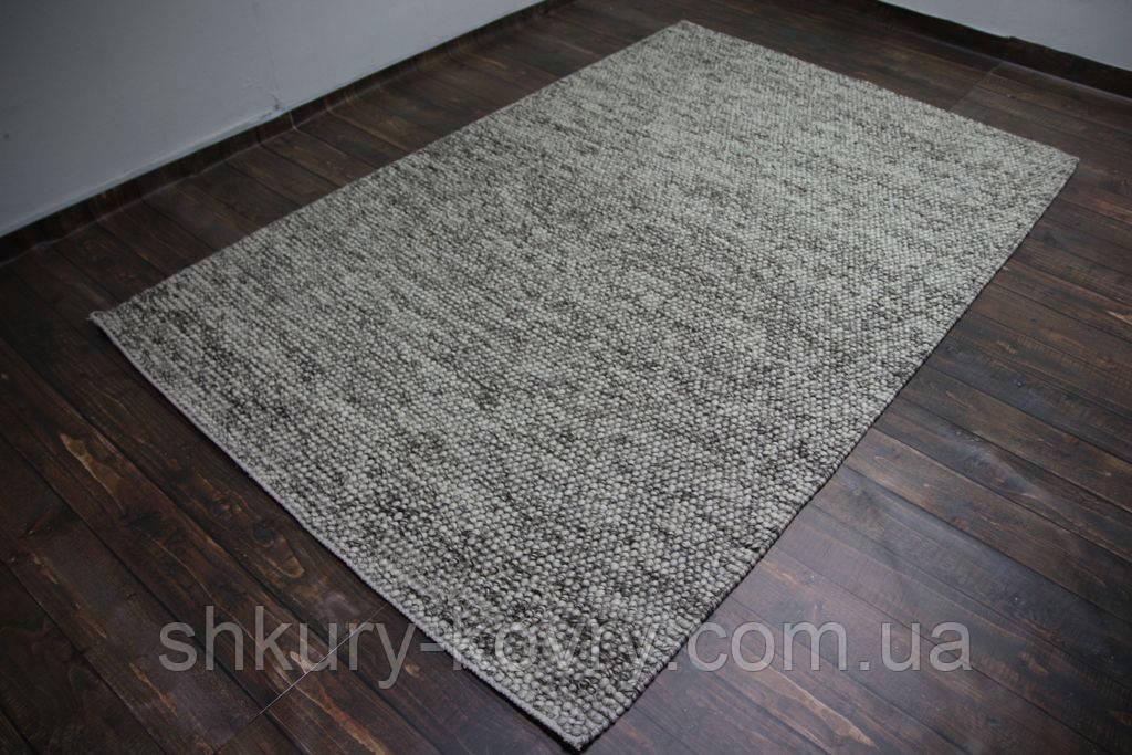 Серый шикарный шерстяной ковер с петлевым ворсом