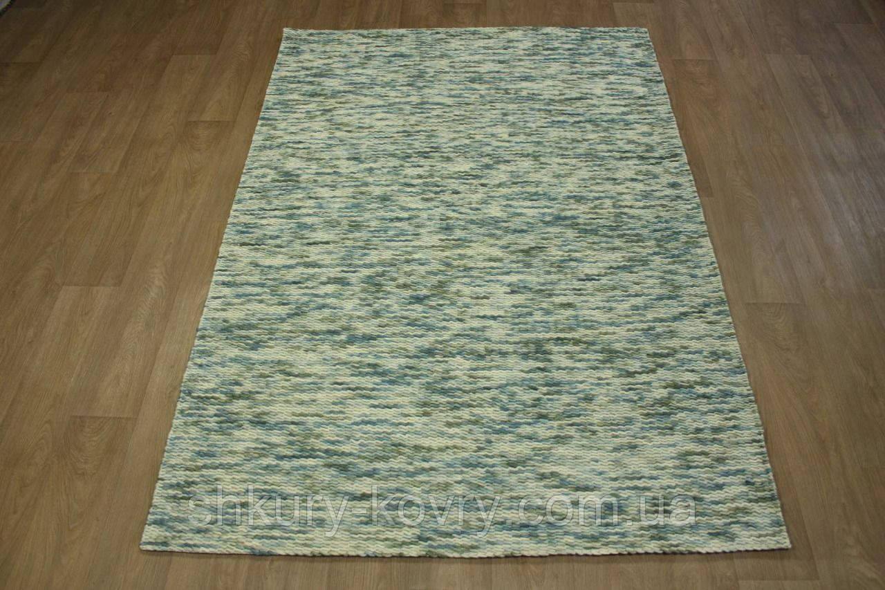 Голубой шикарный безворсовый шерстяной ковер пленый вручную