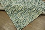 Голубой шикарный безворсовый шерстяной ковер пленый вручную, фото 3