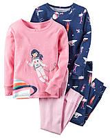 Пижамы детские с длинным рукавом для девочек 3 года Набор 2 шт Carter's (США)