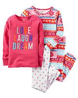 Пижамы детские с длинным рукавом на девочку 3, 4, 5 лет Набор 2 шт Carter's (США)