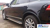 Volkswagen Touareg 2002-2010 гг. Боковые площадки Premium (2 шт, нерж) 42 мм