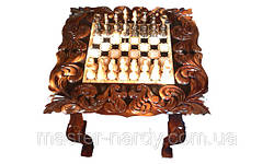 Шахматный стол , резьба по дереву, фото 2